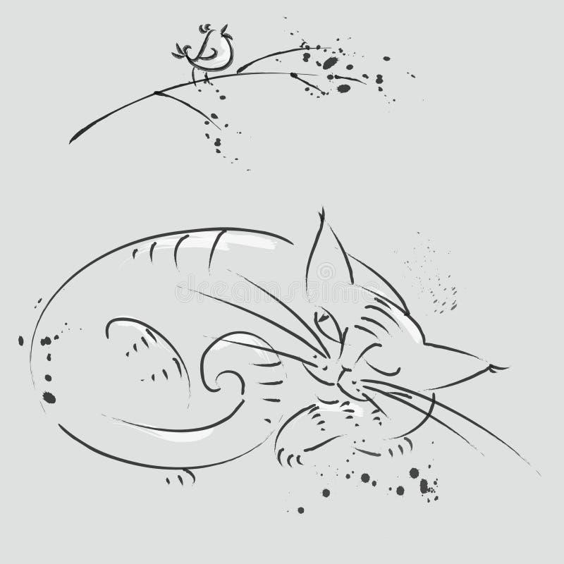 Un pájaro en una rama y un gato que miente bajo rama ilustración del vector