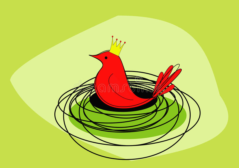 Un pájaro rojo real se sienta en él es jerarquía - trama ilustración del vector