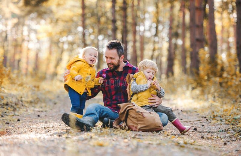 Un père mûr avec des enfants d'enfant en bas âge s'asseyant au sol dans une forêt d'automne photographie stock libre de droits