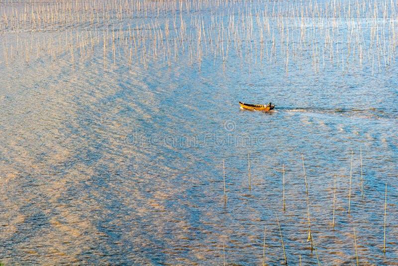 Un pêcheur passant par la zone intertidale côtière de Xiapu photos stock