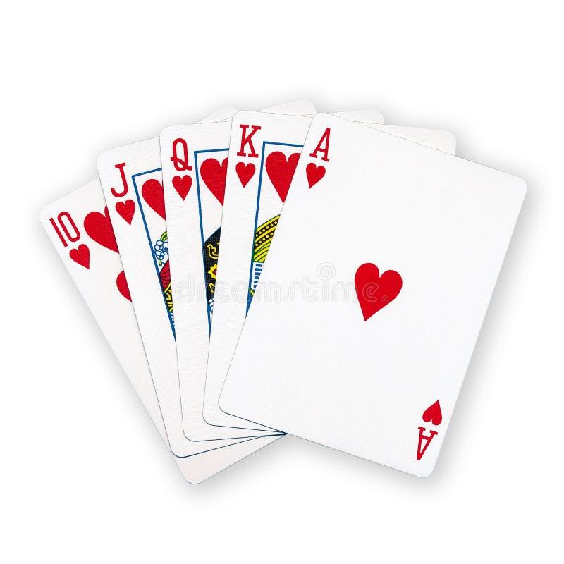 Un póker real de los naipes del rubor recto imagen de archivo libre de regalías