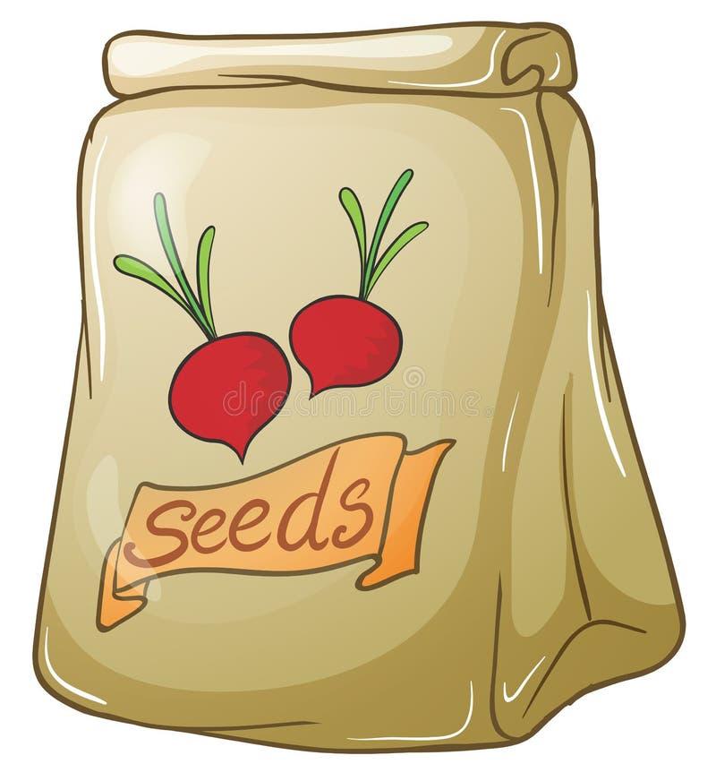 Un pacchetto dei semi della cipolla illustrazione di stock
