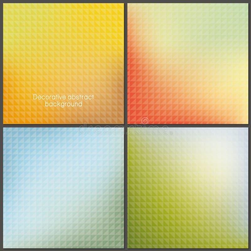 Un pacchetto di quattro colorfully ambiti di provenienza della maglia con i modelli molli illustrazione vettoriale