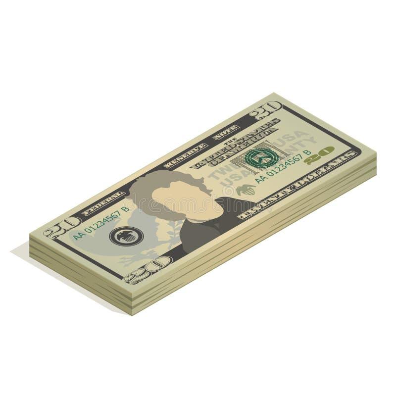 Un pacco di venti banconote in dollari Un mucchio delle banconote da 20 dollari americani, vista isometrica Illustrazione di vett illustrazione vettoriale
