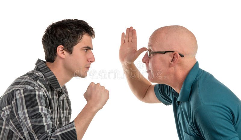 Un padre e un figlio sono arrabbiati fotografia stock