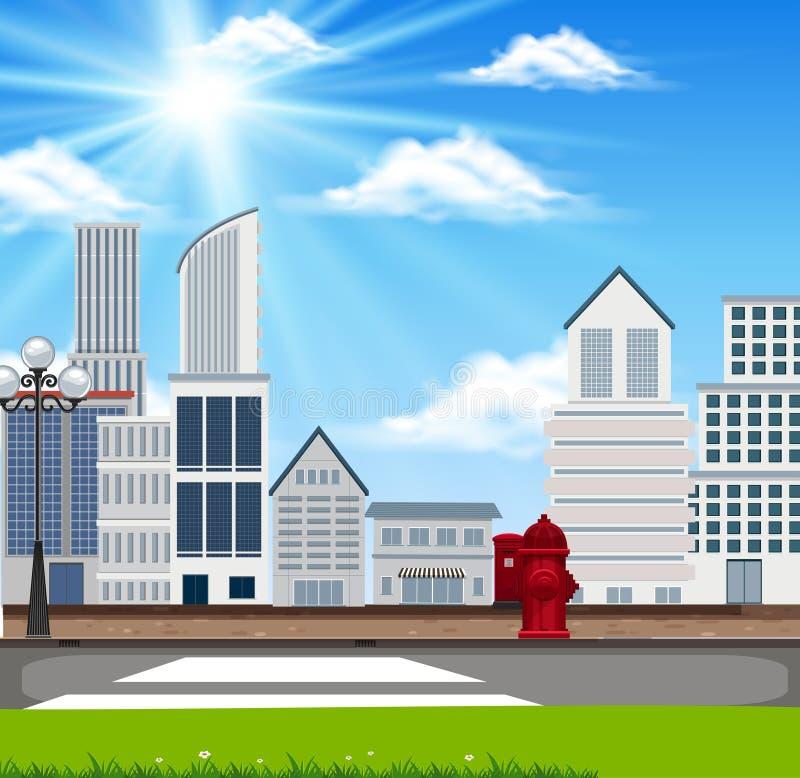 Un paesaggio di costruzione urbano illustrazione vettoriale