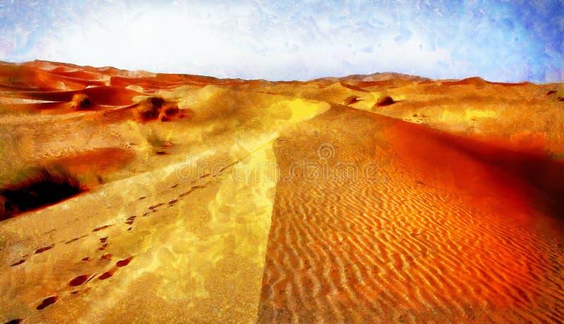 Un paesaggio marocchino del deserto composto ed effetto della pittura del computer royalty illustrazione gratis