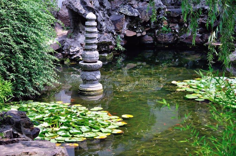 Un paesaggio prolungato del giardino fotografie stock