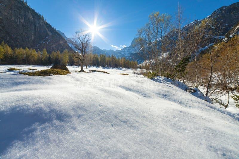 Un paesaggio scenico con neve ha ricoperto le montagne verso la fine della stagione di autunno fotografie stock
