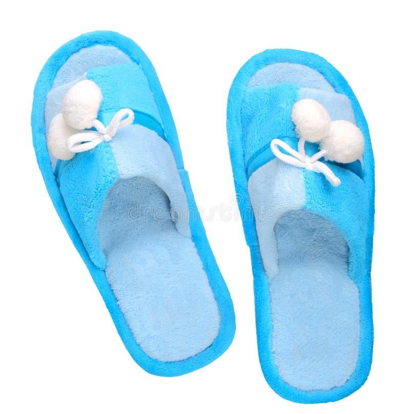 Pantofole blu domestiche fotografie stock libere da diritti