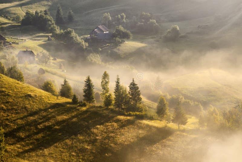 Un paisaje de niebla del otoño hermoso con las casas solas y las colinas soleadas Paisaje rural cárpato en puesta del sol en colo fotografía de archivo