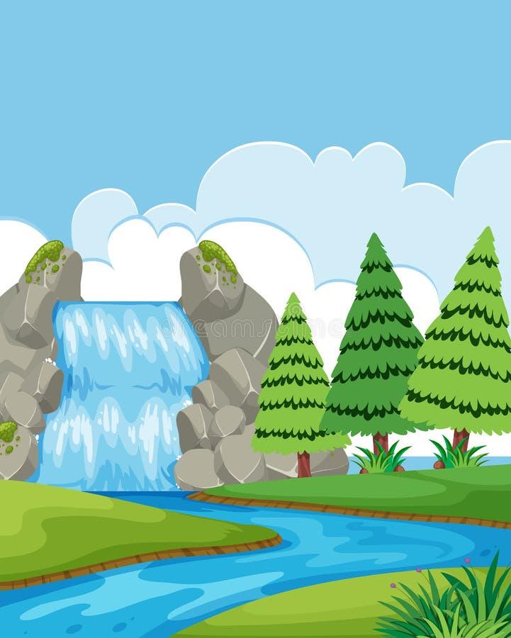 Un paisaje hermoso de la cascada stock de ilustración