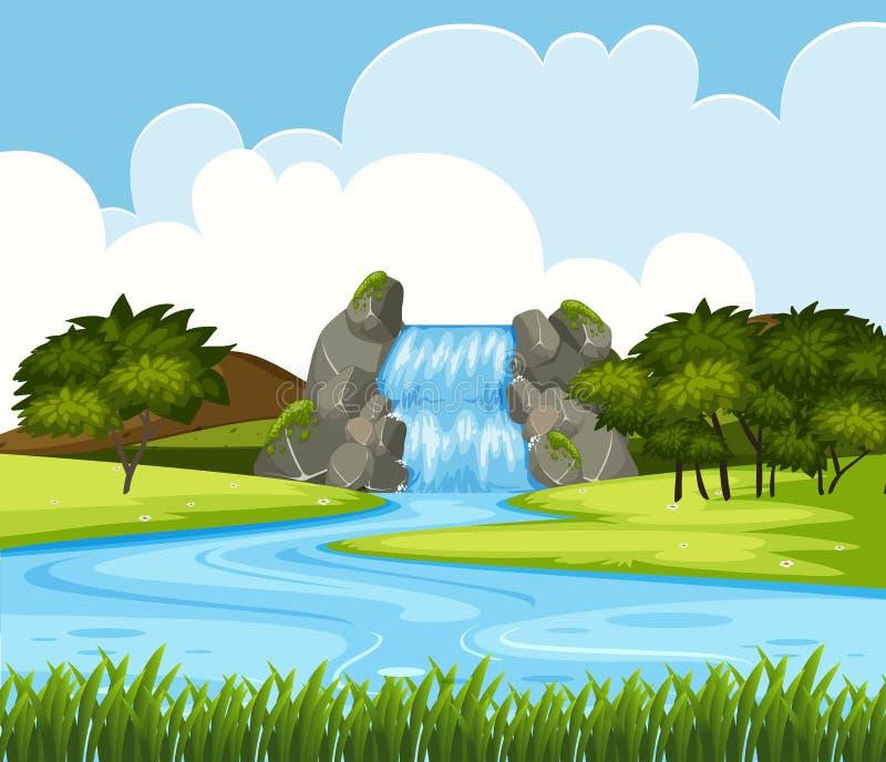 Un paisaje hermoso de la cascada ilustración del vector
