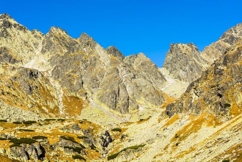 Un paisaje maravilloso de la montaña del otoño que fue iluminado por el sol de la tarde Montañas de Tatra foto de archivo libre de regalías