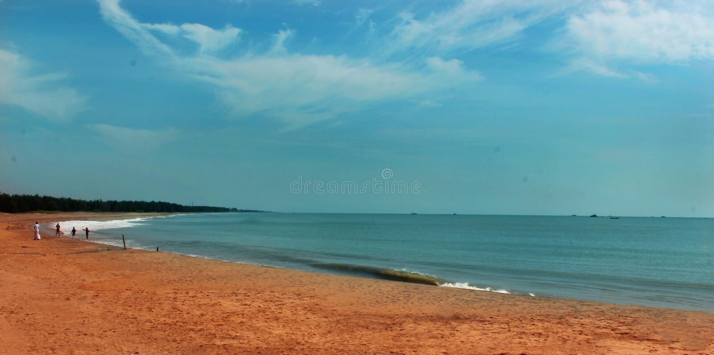 Un paisaje marino de la playa karaikal imagen de archivo