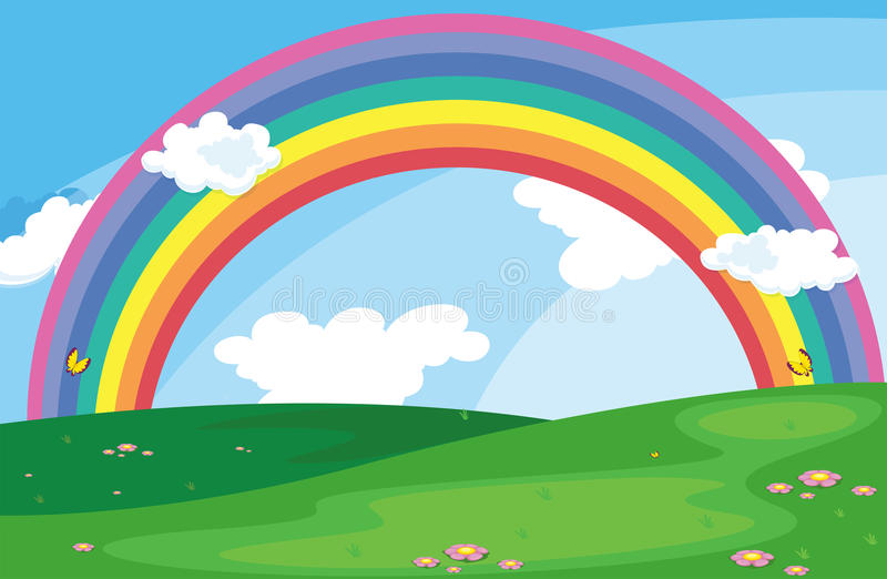 Un paisaje verde con un arco iris en el cielo libre illustration