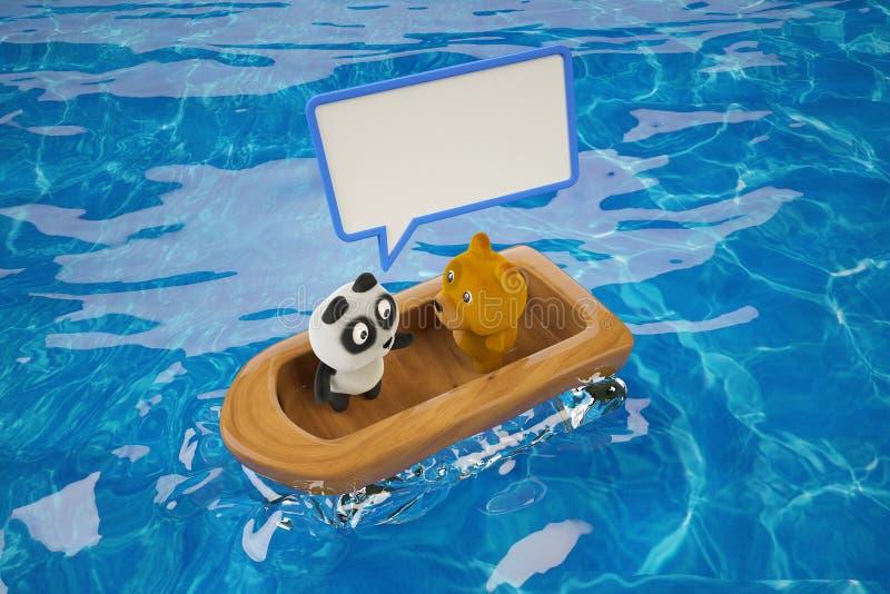 Un panda con un cane in una barca di legno, parte 2 rappresentazione 3d royalty illustrazione gratis