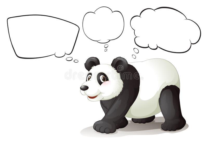 Un panda marchant avec des légendes vides illustration de vecteur