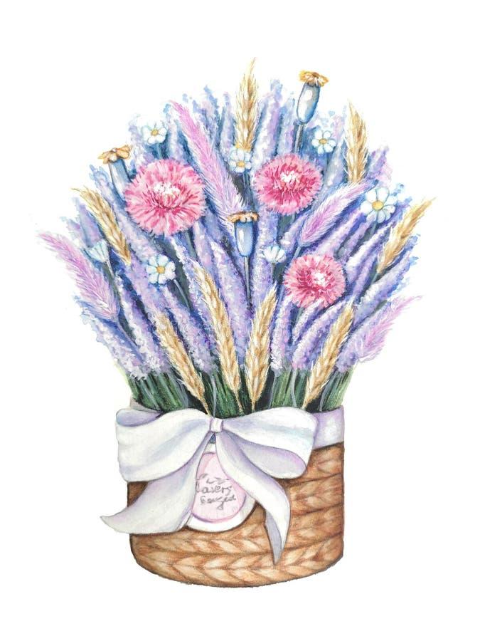 Un panier des fleurs Panier attach? avec un arc avec un bouquet de lavande illustration stock
