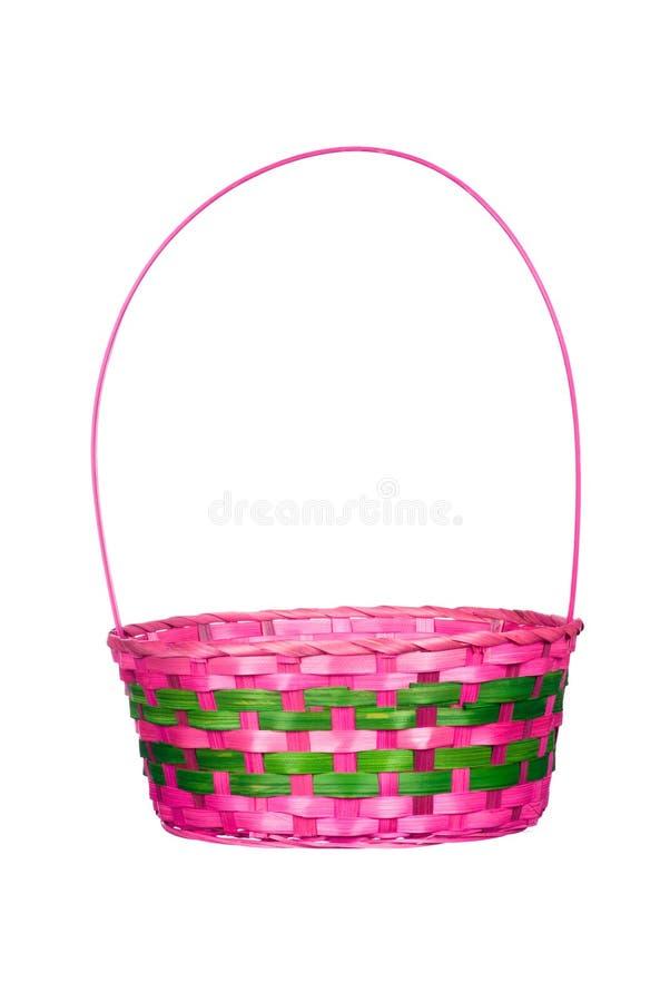 Panier de Pâques d'isolement sur le blanc photos stock