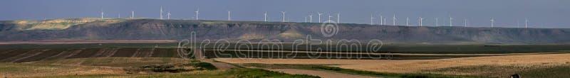 Un panorama dei generatori eolici fotografie stock libere da diritti