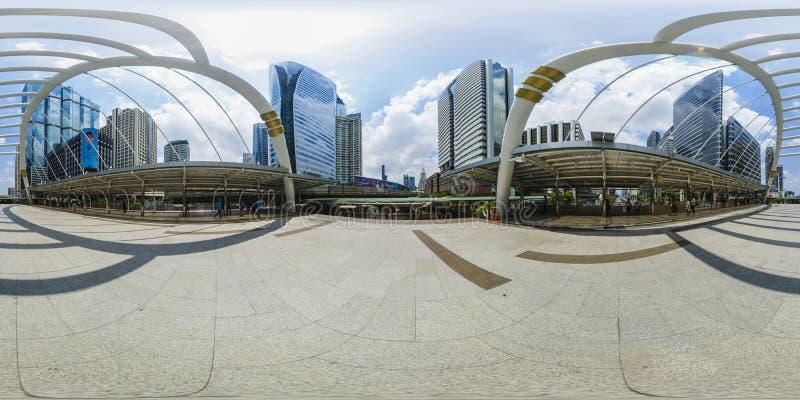 un panorama di 360 gradi sorvola il ponte nel settore commerciale di giorno 2016-3-26 di Bangkok Tailandia immagine stock libera da diritti