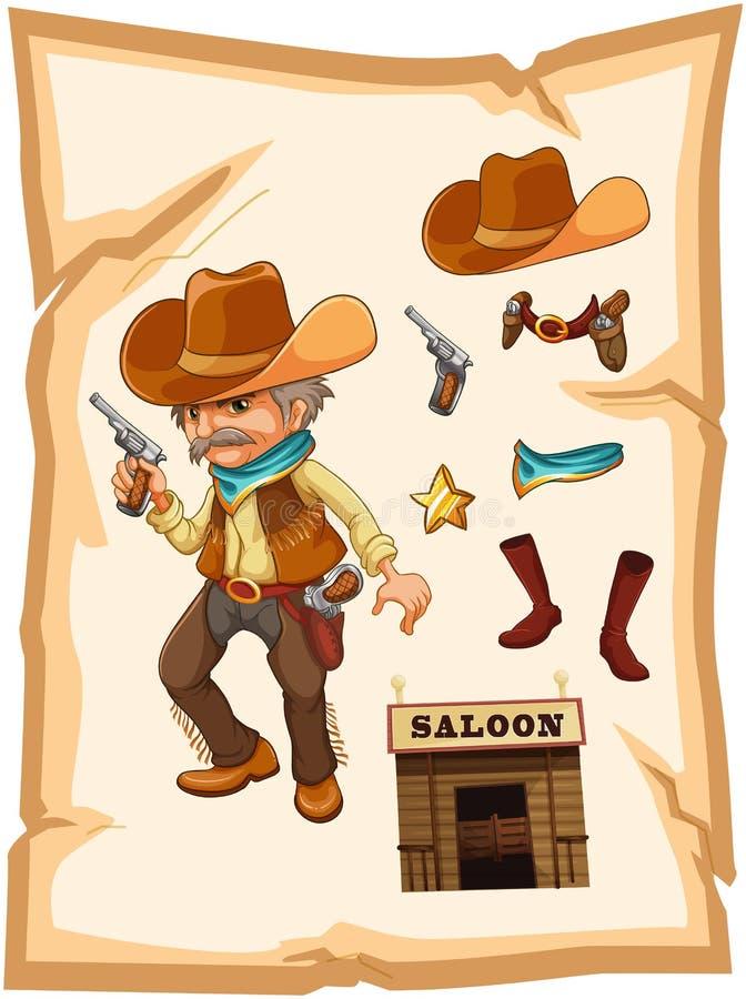 Un papier avec un cowboy tenant une arme à feu illustration libre de droits
