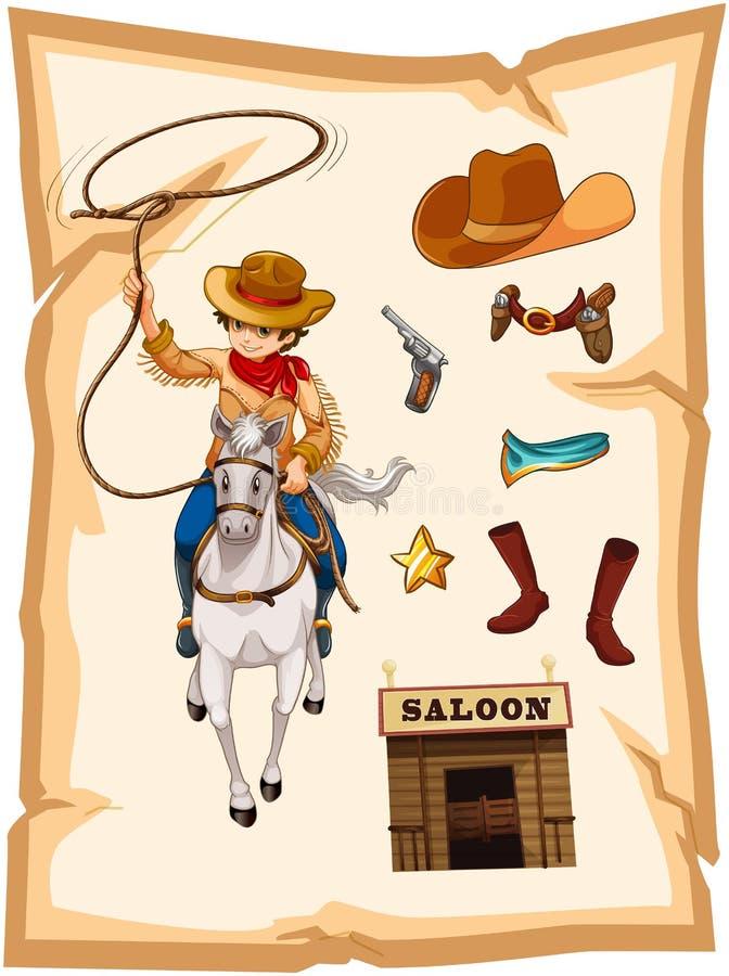 Un papier avec un dessin d'un cowboy et d'une barre de salle illustration libre de droits