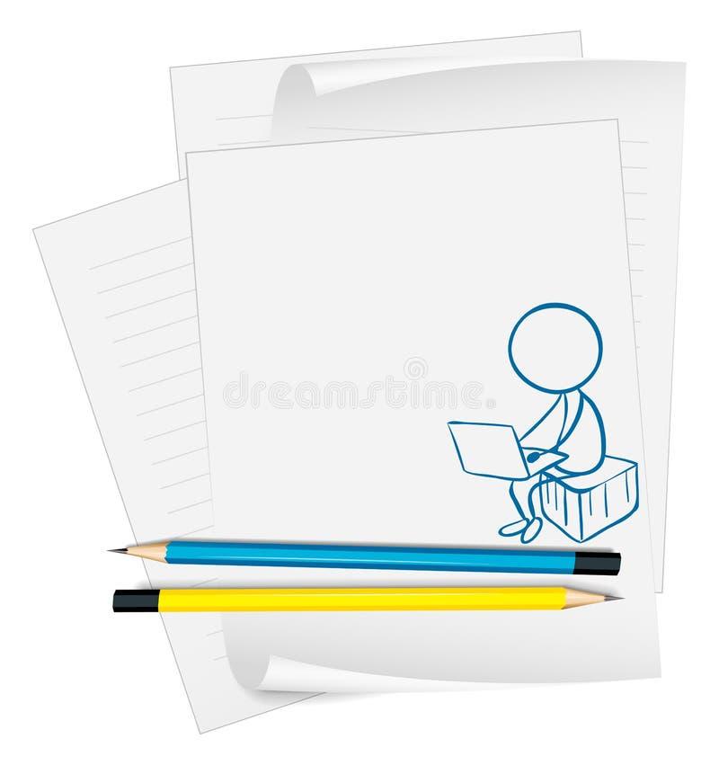 Un papier avec un dessin d'un garçon à l'aide d'un ordinateur portable illustration libre de droits