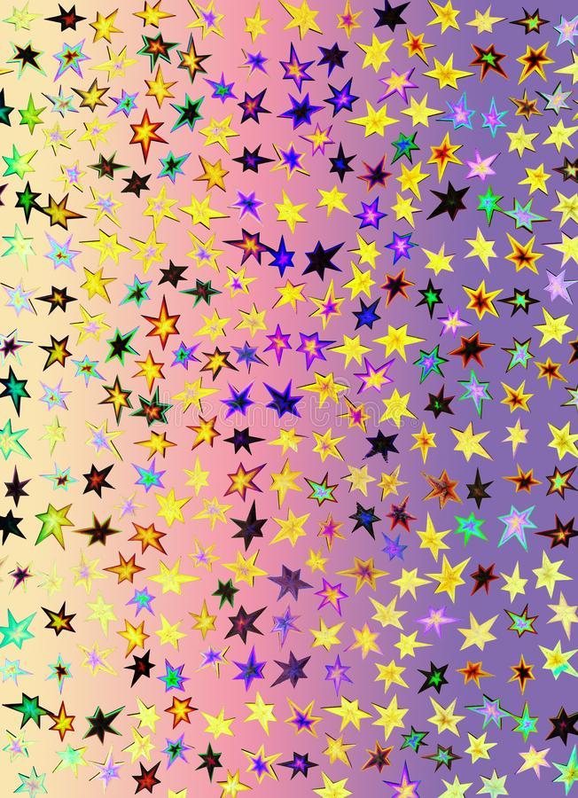 Un papier d'hologramme fait d'étoiles et différentes couleurs pour des milieux, l'emballage, ou des papiers peints illustration stock