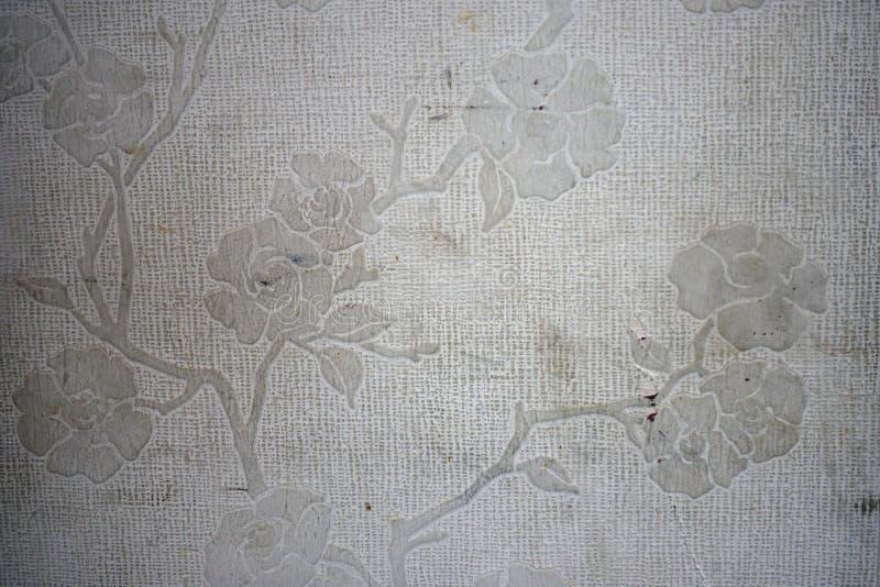 Un papier peint blanc sale et âgé avec le modèle de fleur rose gravent en refief photographie stock
