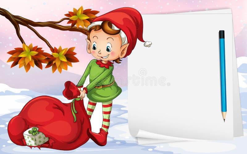 Un papier vide près de l'elfe illustration de vecteur