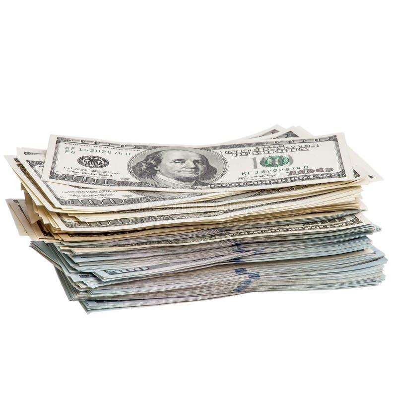 Un paquet de cent billets d'un dollar sur un fond blanc D'isolement images libres de droits