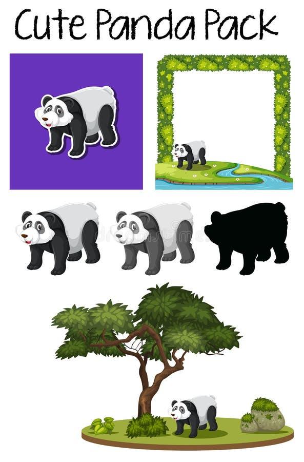 Un paquet de panda mignon illustration stock