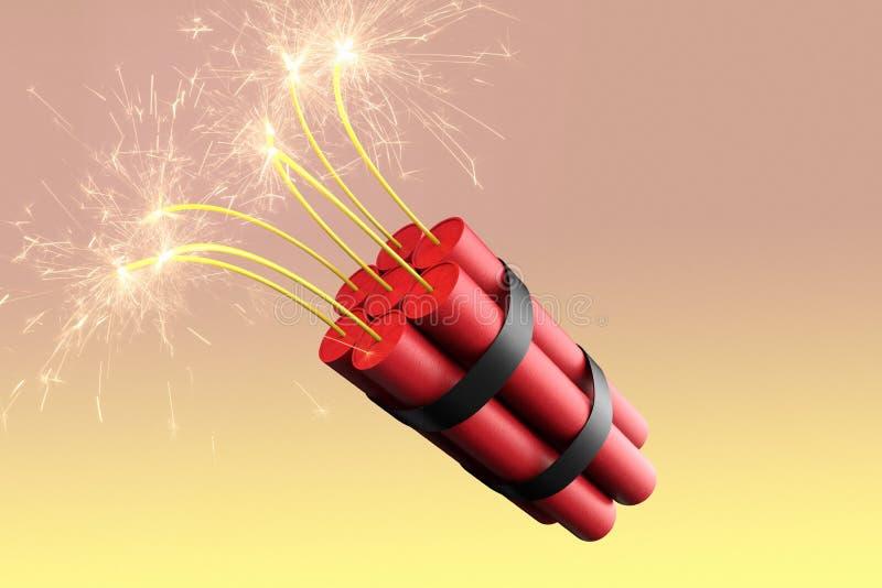Un paquete ardiente de dinamita stock de ilustración