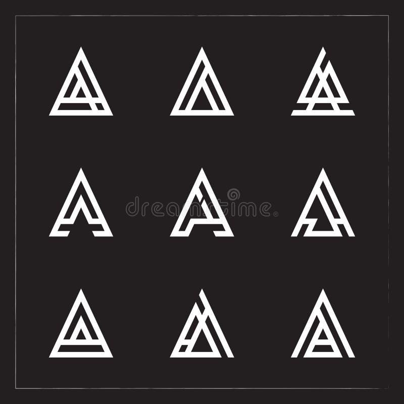Un paquete del logotipo de la letra del triángulo stock de ilustración