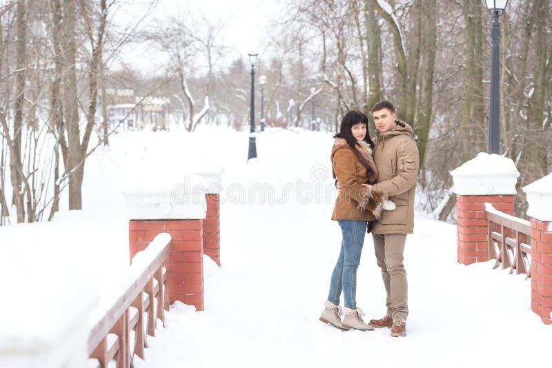 Un par cariñoso que camina en parque del invierno imágenes de archivo libres de regalías