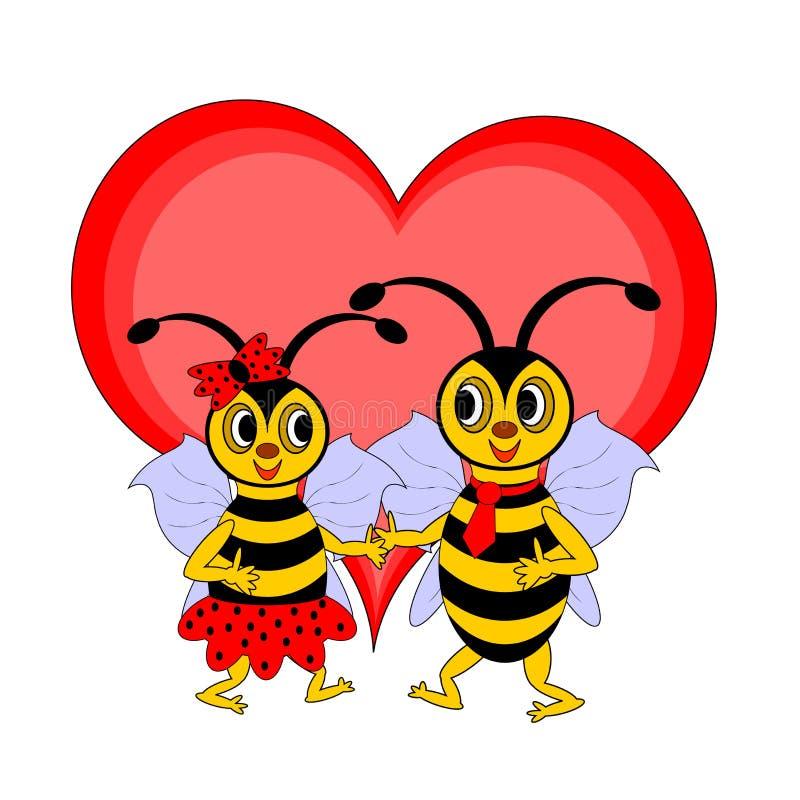 Un par de abejas divertidas de la historieta con un corazón rojo stock de ilustración