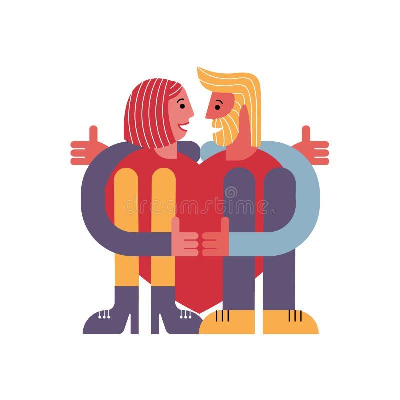 Un par de amantes que abrazan un corazón Hombre y mujer Tarjeta para el día del ` s de la tarjeta del día de San Valentín Gente a stock de ilustración