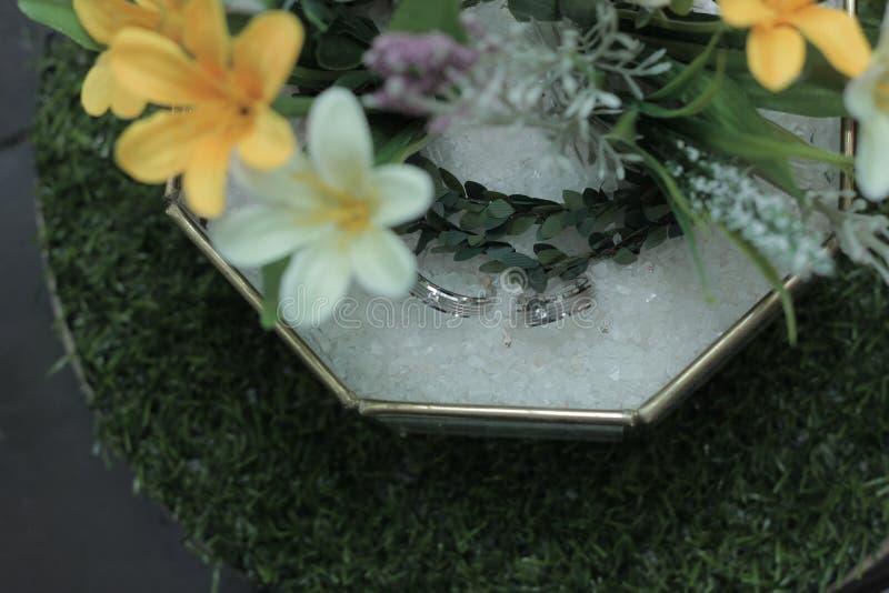 un par de anillos de boda en una caja de vidrio con flores imagen de archivo