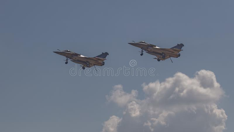 Un par de aviones de combate de Dassault Rafale fotos de archivo