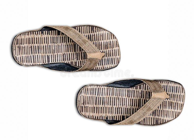 Un par de bambú de la sandalia imagenes de archivo