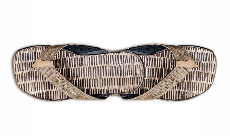 Un par de bambú de la sandalia foto de archivo libre de regalías