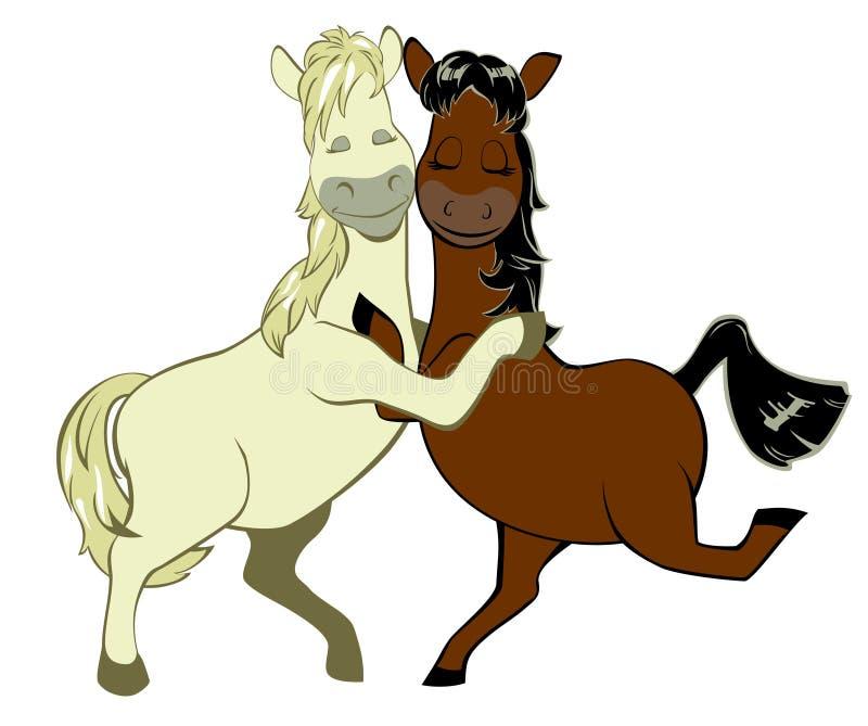Un par de caballos divertidos en amor fotos de archivo