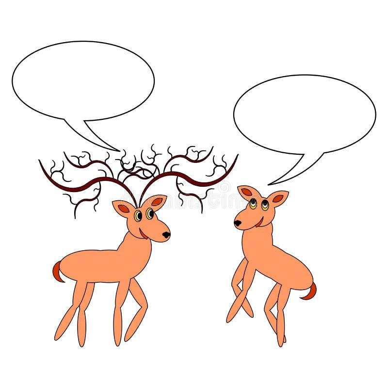 Un par de ciervos divertidos de la historieta con el bubbl de charla stock de ilustración