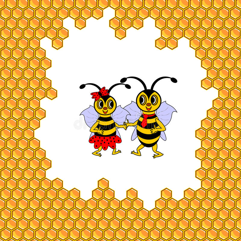Un par de dos abejas divertidas de la historieta rodeadas por h libre illustration