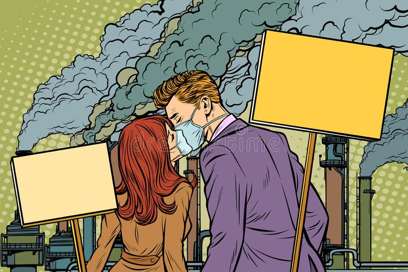 Un par de hombre y mujer que protestan contra facto de la contaminación atmosférica stock de ilustración
