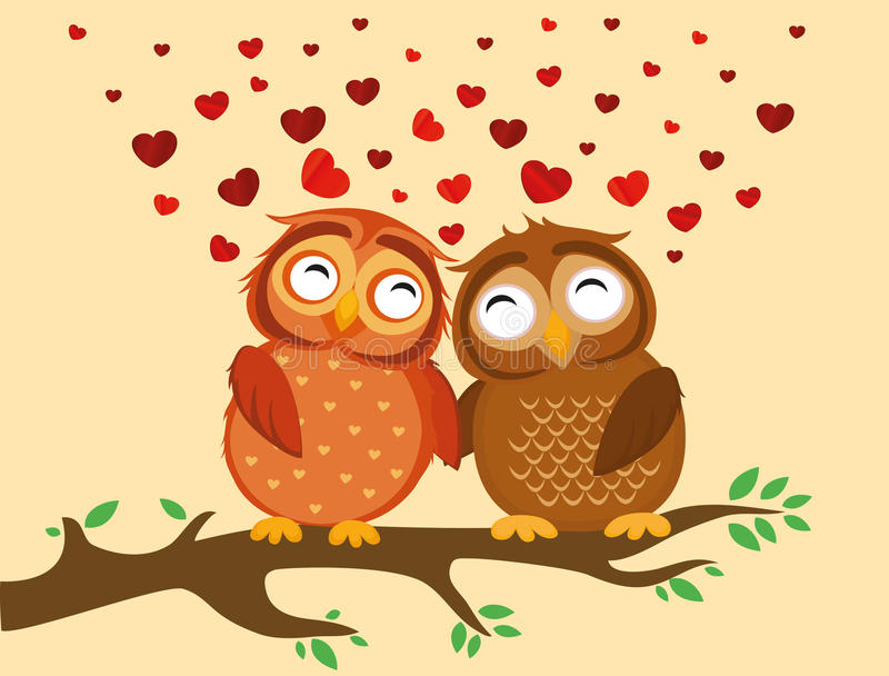 Un par de mochuelo lindo que se sienta en una rama Búhos en corazones del amor stock de ilustración