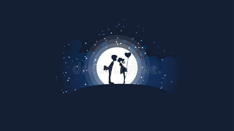 Un par de muchachas y de individuos que se besan en la colina delante de una luna brillante grande y de las estrellas stock de ilustración