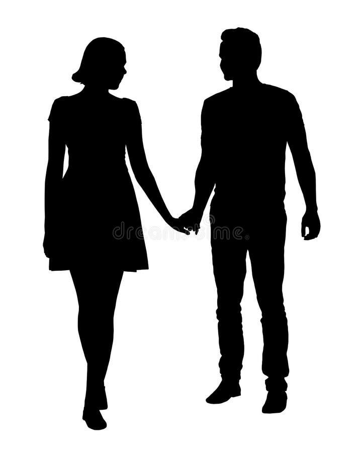 Un par de personas jovenes - hombre y mujer que llevan a cabo las manos, vector i ilustración del vector